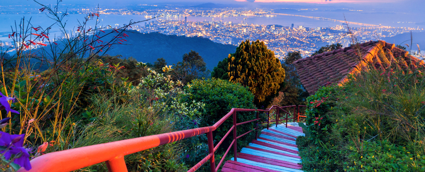 d-George Town City view from Penang Hill during dawn_762759964